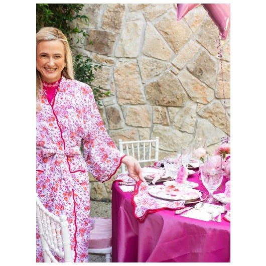 Elevate any table with my scalloped napkin and placemat set. The pink floral pattern is a custom block print, and...