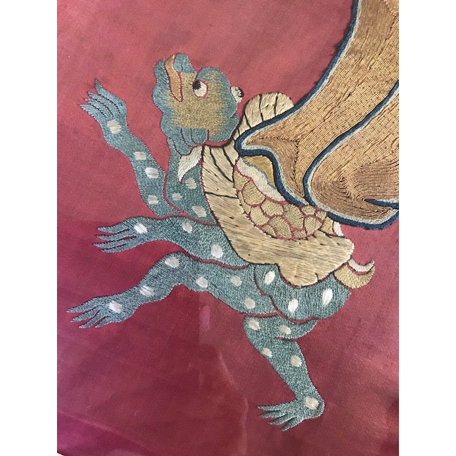 Antique Chinese Embroidered Mythological Wall Hangings, Panels on Silk - a Pair For Sale - Image 9 of 9