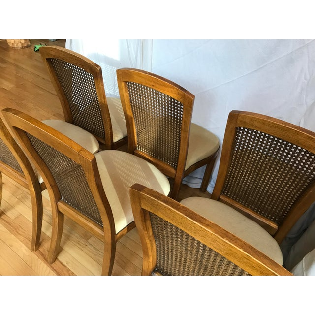 Drexel Drexel Accolade II Campaign Style Cane Back Dining Side Chairs - Set of 6 For Sale - Image 4 of 11