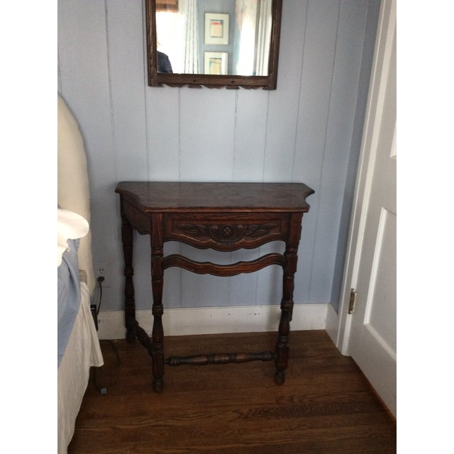 Early 19th Century Rustic Dark Oak Console and Mirror - 2 Pieces For Sale - Image 4 of 13