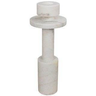 Shine Candle Holder, White Stone For Sale