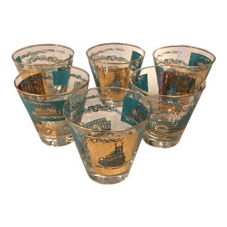 Mid-Century Low Ball Cocktail Glasses - Set of 6