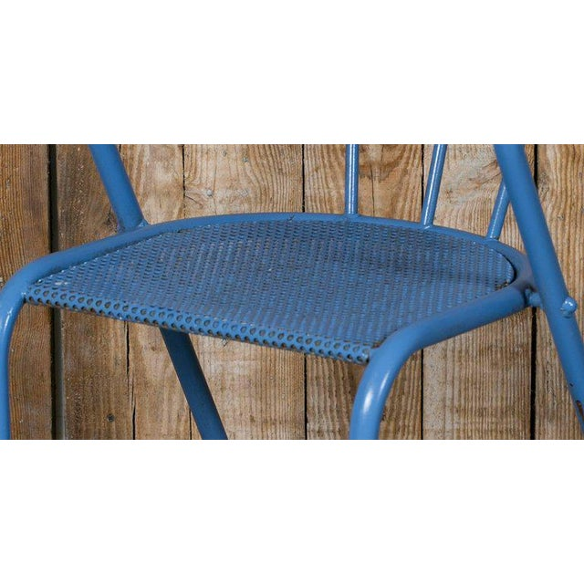 French Blue Metal Side Chairs - Set of 6 - Image 4 of 6