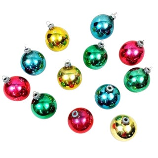 Vintage Shiny Brite Mixed Solid Christmas Ornaments-Set of 12 For Sale