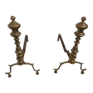 18th Century Antique Brass Fireplace Andirons - a Pair For Sale