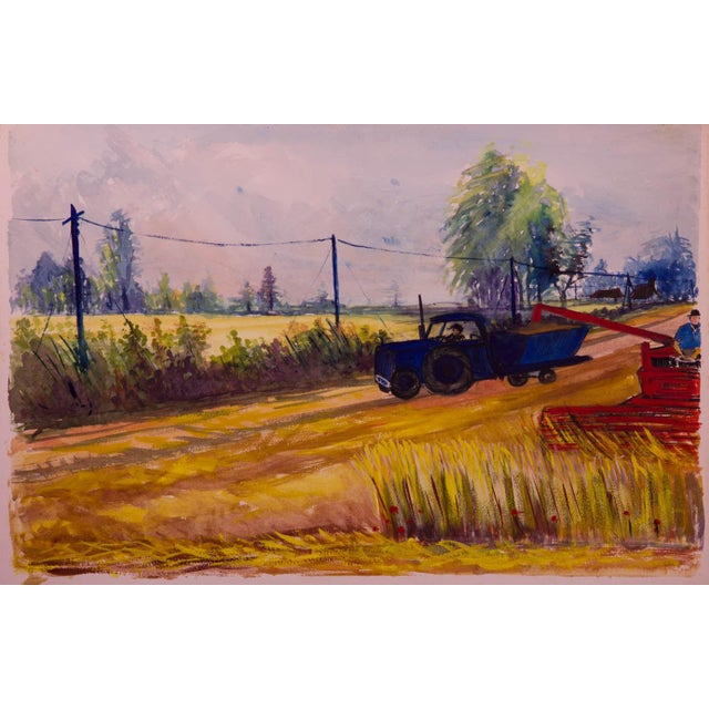 Vintage WPA-Style Farm and Tractor Oil Painting - Image 2 of 3