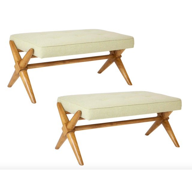 1950's t.h. Robsjohn-Gibbings Bleached Walnut X-Form Bench-a Pair For Sale In New York - Image 6 of 6