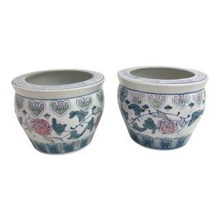 Asian Style Floral Pots - a Pair For Sale