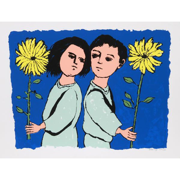 "1970 Frank Kleinholz ""Twins With Flowers"" Print - Image 1 of 3"