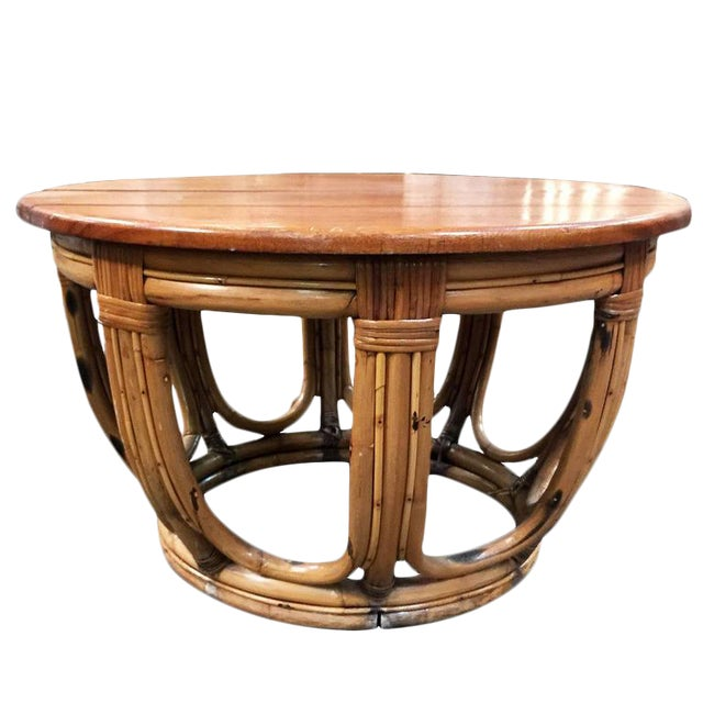 Restored Circular Rattan Coffee Table with Mahogany Top For Sale