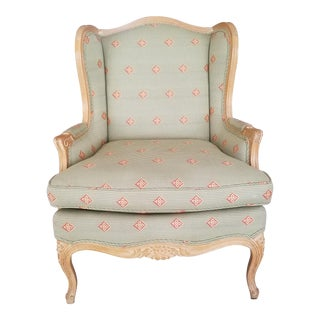 French Louis XV Style White Wash Bergere
