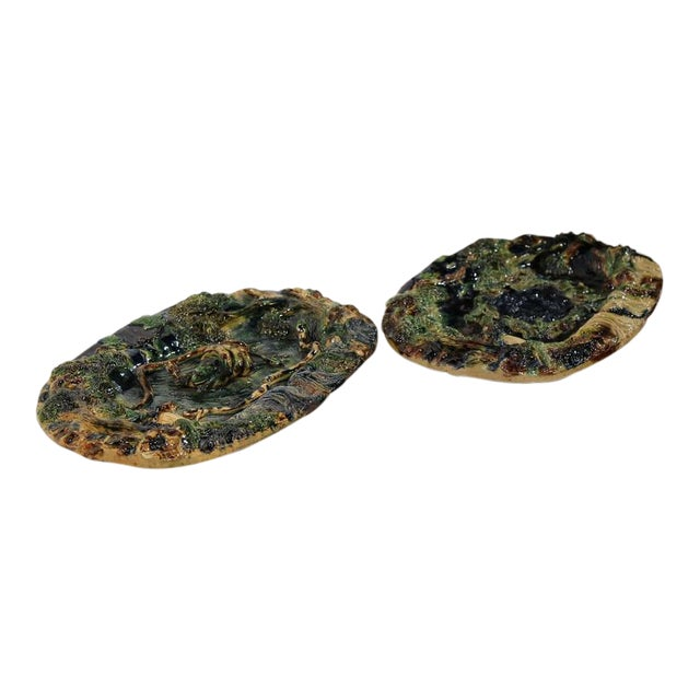 19th Century French Barbotine Hand Painted Majolica Palissy Platters - A Pair - Image 1 of 11