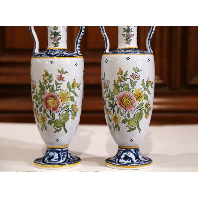 Late 19th Century 19th Century French Hand-Painted Brittany Vases Signed HB Quimper - a Pair For Sale - Image 5 of 13