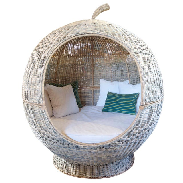 Wood Outdoor Rattan Apple Pod Bed For Sale - Image 7 of 7