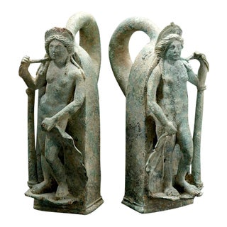 Pair of Roman Bronze Chariot Handles in the Form of Venus For Sale