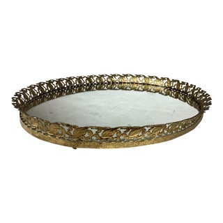 1930s Art Nouveau Gold-Tone Filigree Mirror Vanity Make-Up Tray For Sale