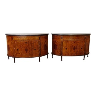 George III Style Inlaid Satinwood Demilune Commode Cabinets - A Pair