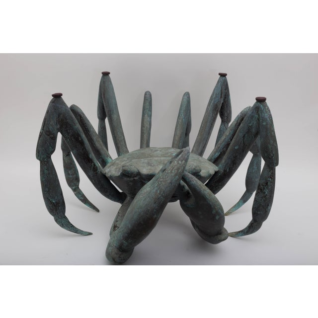 Contemporary Bronze Crab-Form Sculpture Cocktail Table With Round Glass Top For Sale - Image 3 of 9