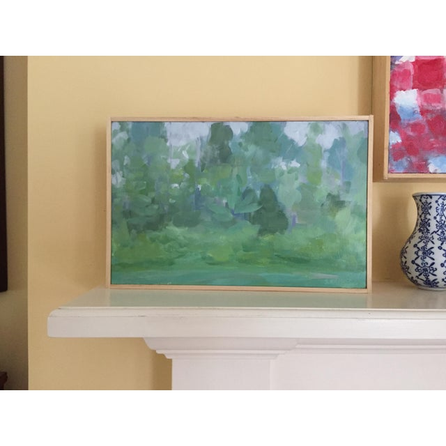 """Green Stephen Remick, """"Misty Morning"""", Contemporary Plein Air Painting For Sale - Image 8 of 8"""