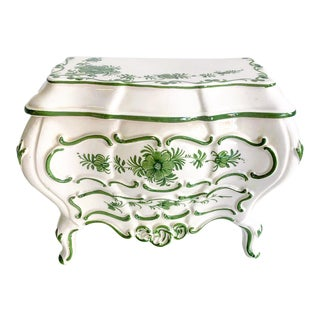 Vintage Italian Green & White Hand Painted French Style Commode Ceramic Chest Box