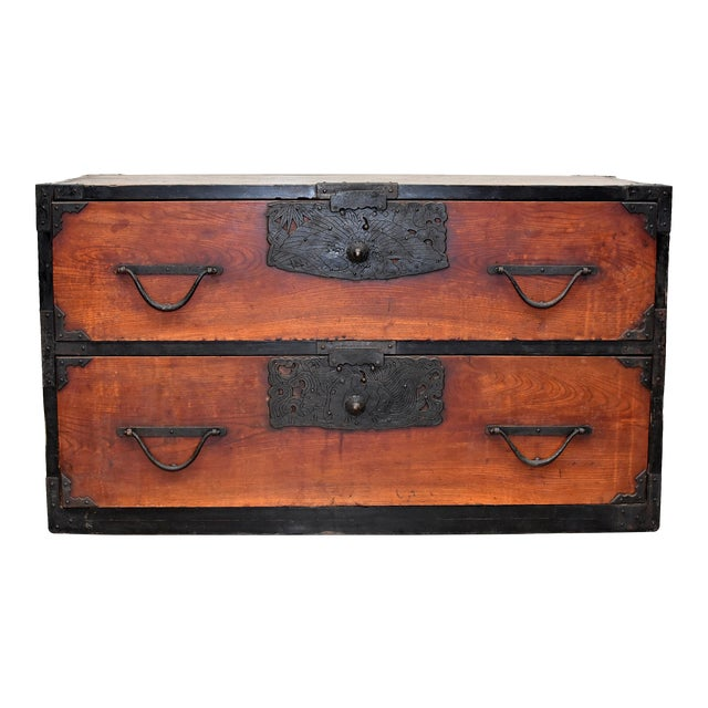 Vintage Japanese Low Tansu Chest with Bamboo Crane Hardware For Sale