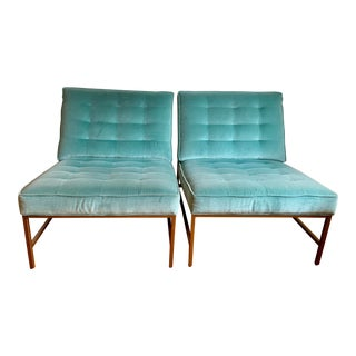 Vintage Mitchell Gold Light Blue Velvet Armless Major Chairs- A Pair For Sale