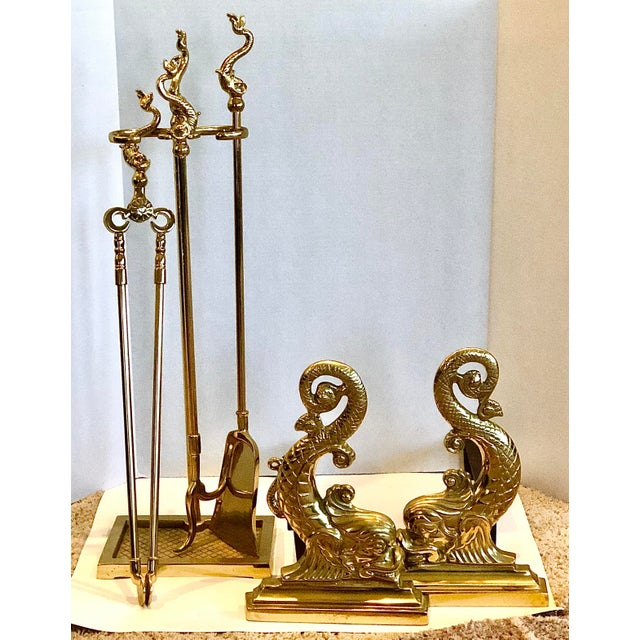 Virginia Metalcrafters Solid Brass Fireplace Set - 6 Pieces For Sale - Image 13 of 13