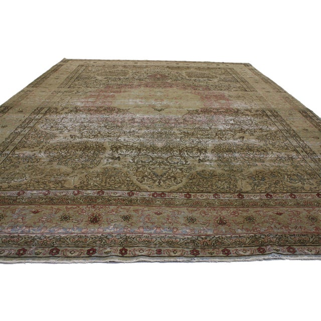 English Antique Persian Kermanshah Area Rug - 09'05 X 13'02 For Sale - Image 3 of 4