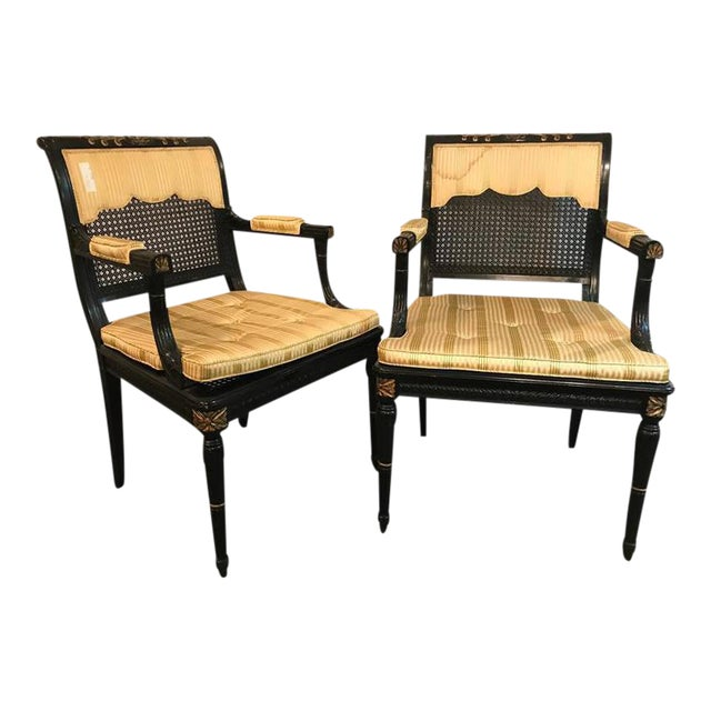 Hollywood Regency Ebony & Gilt Gold Arm Chairs Attributed Maison Jansen - A Pair For Sale