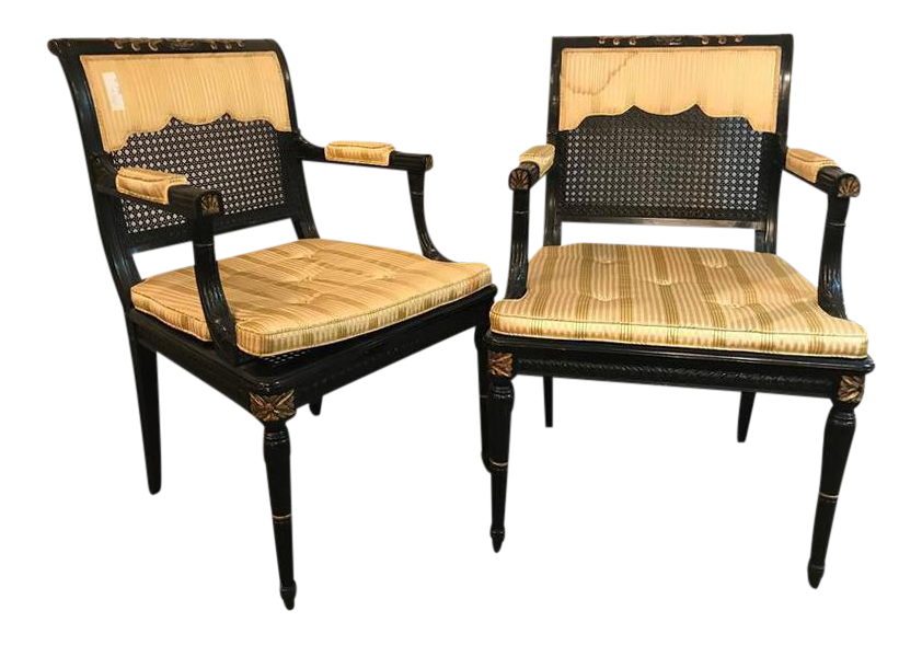 Hollywood Regency Ebony U0026 Gilt Gold Arm Chairs Attributed Maison Jansen   A  Pair For Sale