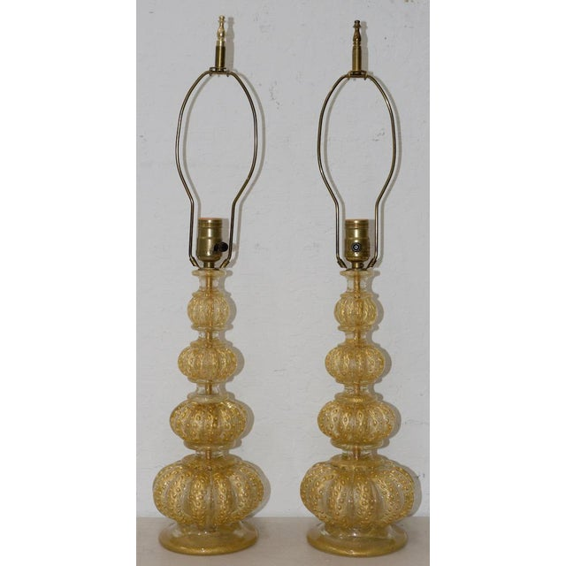 Gold Pair of Barovier & Toso Venetian Glass Mid-Century Modern Table Lamps C.1950 For Sale - Image 8 of 8