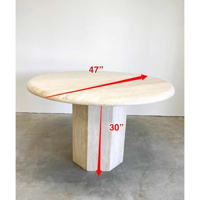 Vintage Postmodern Travertine Marble Round Dining Table For Sale - Image 11 of 12