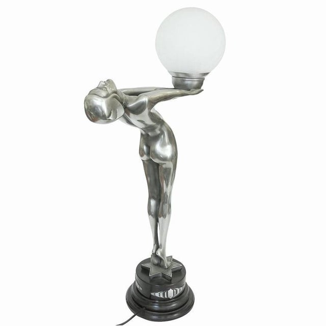 """Silver Art Deco Style Lamp Fashioned after """"Clarté"""" by Max Le Verrier - Image 2 of 10"""