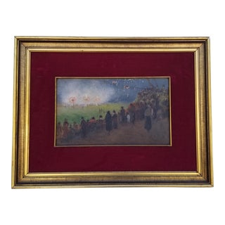 1970s Vintage French Framed Painting For Sale
