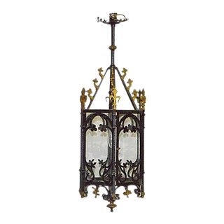Antique Gothic-Style Iron Hanging Lantern For Sale