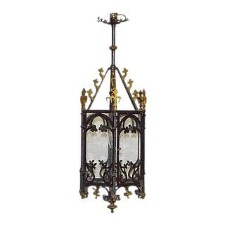 Antique Gothic-Style Iron Hanging Lantern