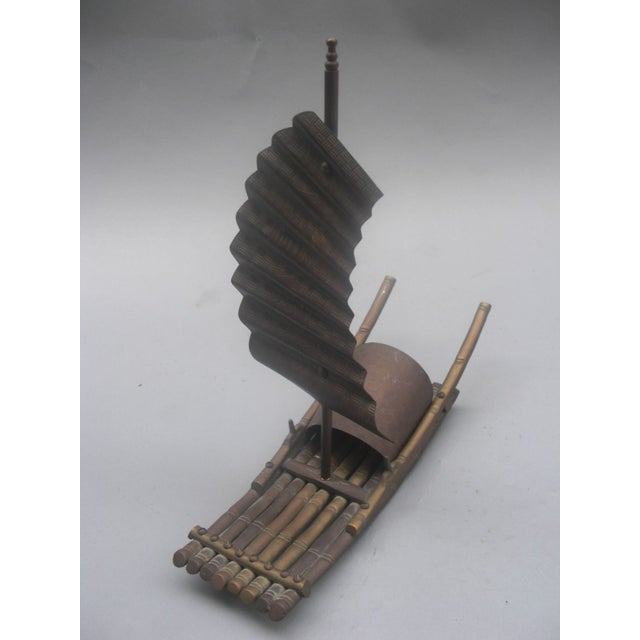 Brass Chinese Junk Boat Sculpture - Image 3 of 4