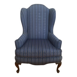 20th Century Queen Anne Blue With Gold Pin Stripe Damask Wingback Chair For Sale