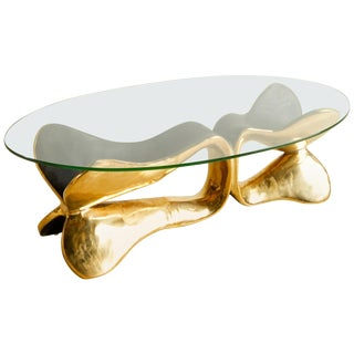 Brass Sculpted Console Table, Homage to Cesar's Compression, Misaya For Sale