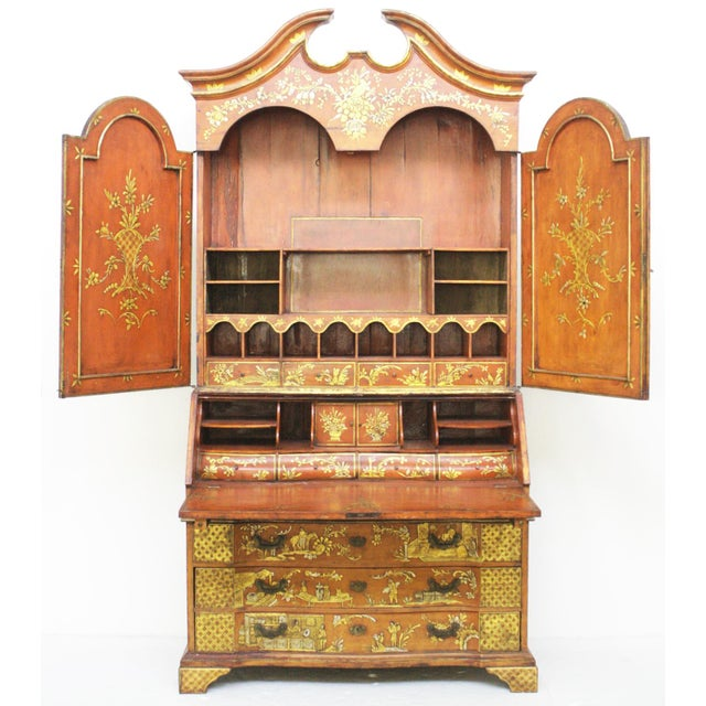 Georgian-Style Red Chinoiserie Secretary - Image 2 of 9