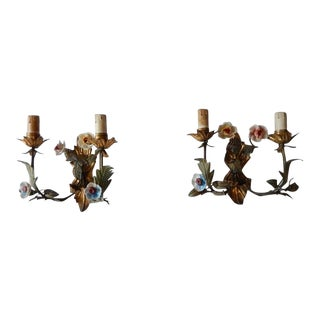 19th Century Italian Tole and Porcelain Flowers Sconces For Sale