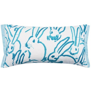Contemporary Hutch Print Aqua Bunny Fabric Lumbar Pillow - 11x21 Preview