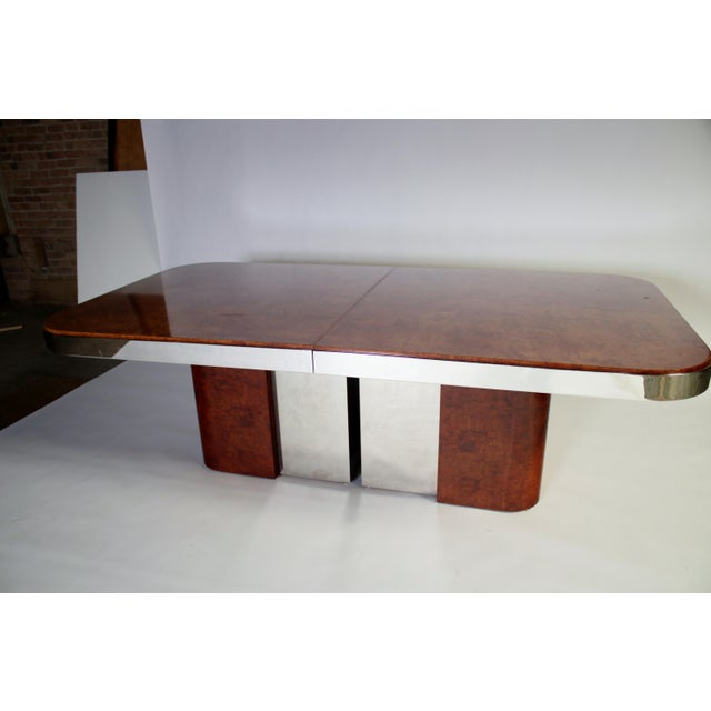 Mid-Century Modern Burl Wood and Steel Dining Table For Sale - Image 3 of 10