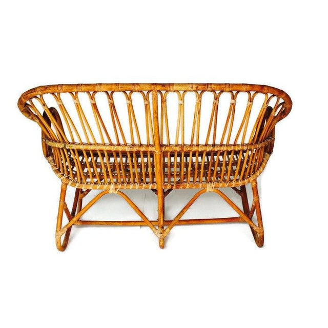 Vintage Sculptural Bamboo Settee Franco Albini Style Love Seat For Sale - Image 5 of 7