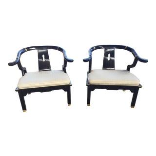 Chinese Style Black Lacquer Horseshoe Chairs For Sale