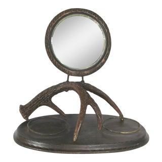 Victorian Era Faux Antler Shaving Mirror For Sale