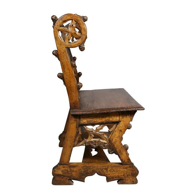 Wood Gothic Fruitwood Bench For Sale - Image 7 of 10