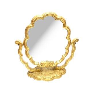 Vintage Italian Mid Century Florentine Swiveling Vanity Mirror For Sale