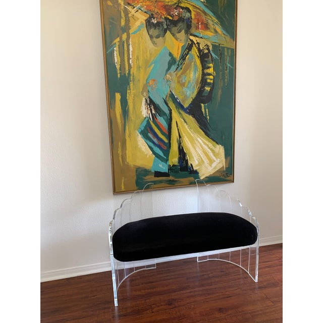 """Art Deco 1970s Vintage Charles Hollis Jones for Hill Mfg Clear Lucite """"Angel Wings"""" Bench For Sale - Image 3 of 12"""