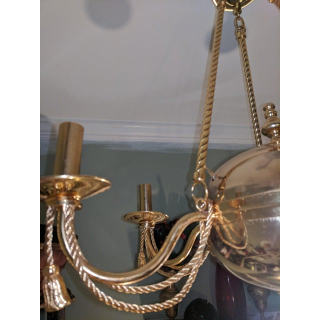Metal Vintage Solid Brass Rope and Tassels Chandelier For Sale - Image 7 of 10
